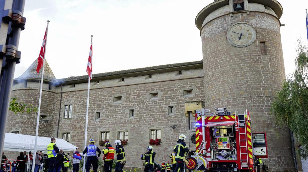 Le Château en feu pour tester les secours