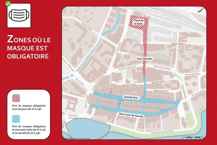 Plan détaillé des zones concernées (source: Ville de Morges)