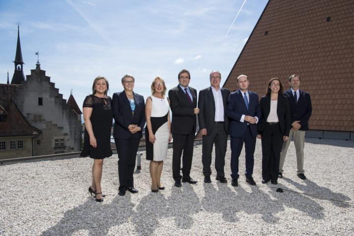 Toujours présent, mais en retrait, le rôle du chancelier d'État se joue essentiellement dans l'ombre. Photo: KEYSTONE/Jean-Christophe Bott