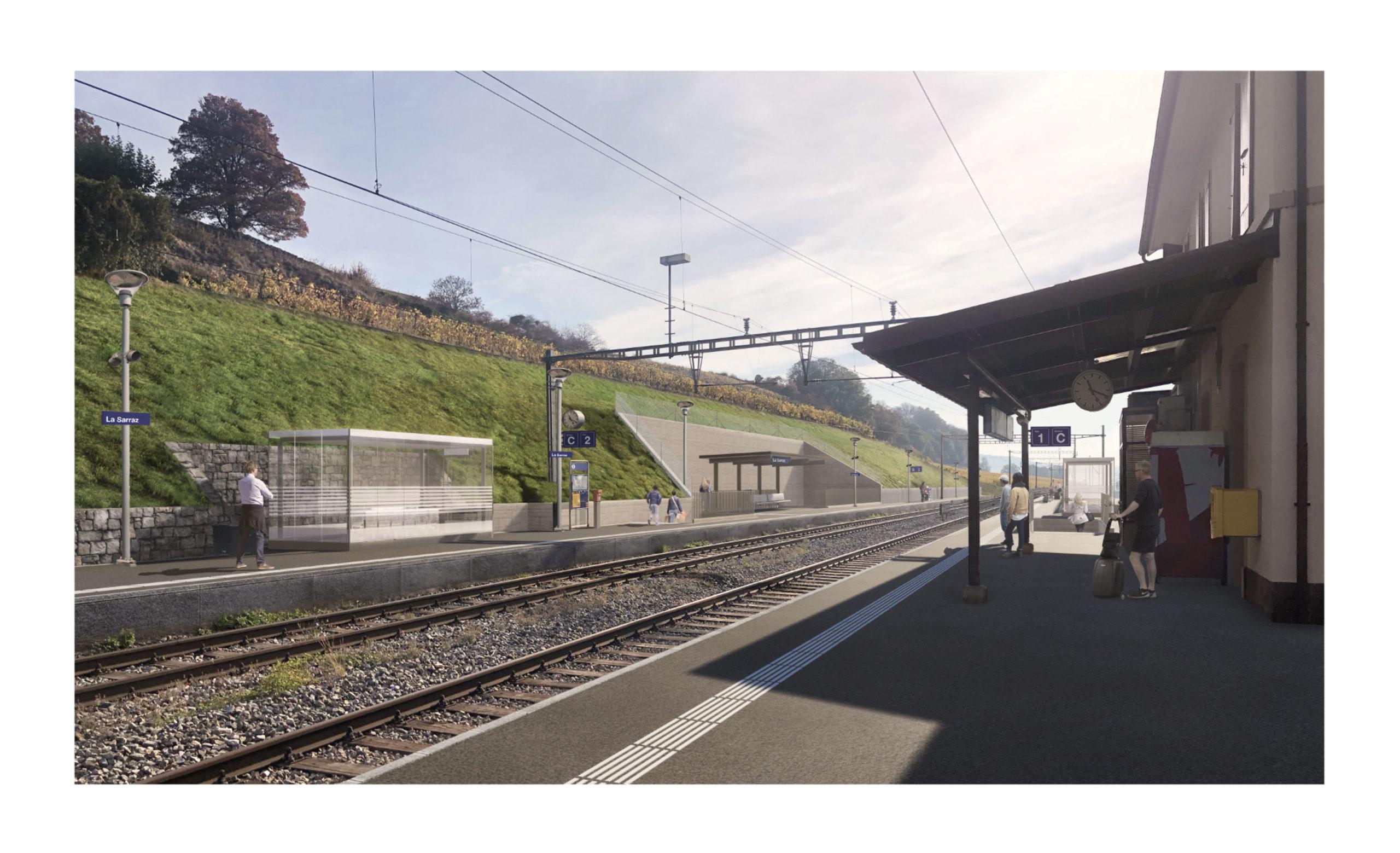 La nouvelle gare de La Sarraz sur les rails