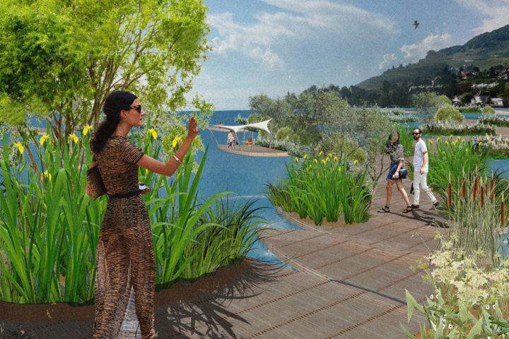 Un parc flottant pour baigneurs et flâneurs